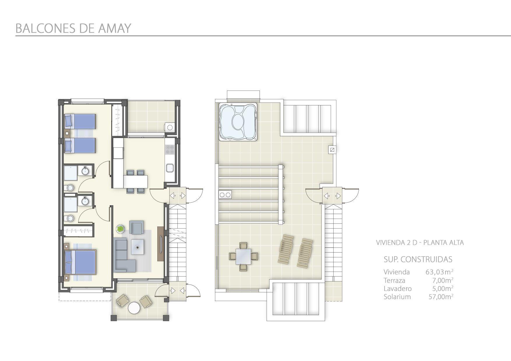 2 Dormitorios en Planta Alta
