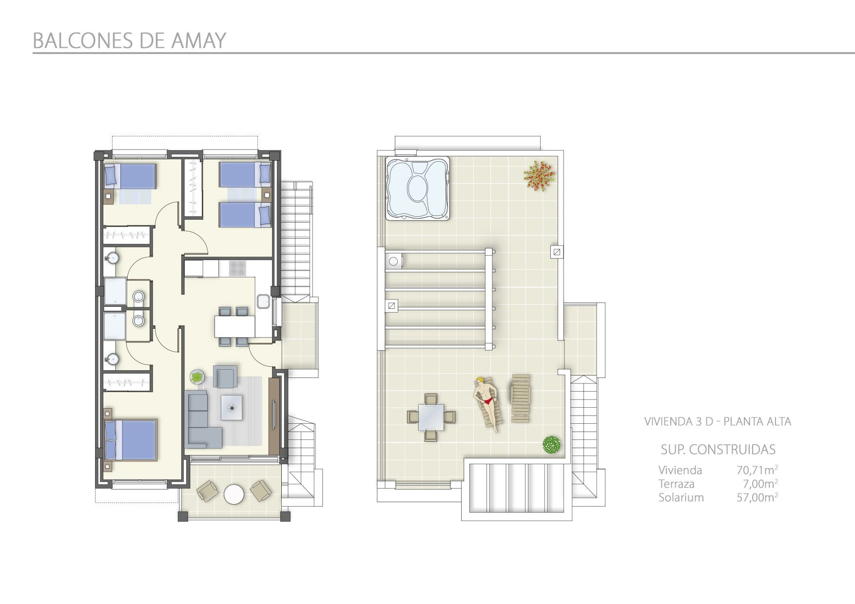 3 Dormitorios en Planta Alta