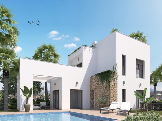 Villas de obra nueva en Torrevieja con piscina, garaje y jardines